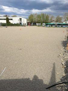 Die neue Produktionsfläche hat sich verdreifacht. Hier entsteht die riesig große neue Halle, in welcher sich der Zuschnitt und das Lager befinden wird.